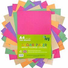 Papel De Azúcar A4 - 200 x Hojas de Colores Brillantes - 21001-Hecho en Reino Unido por Ivy