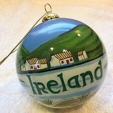 """IRELAND 3"""" Round Glass Ball ORNAMENT Hand Painted Gaelic Celtic Irish GIFT BOX"""