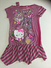 Hello Kitty Girls Dress Tunic Size Large 10 12 Pink Gray Stripe Evy California