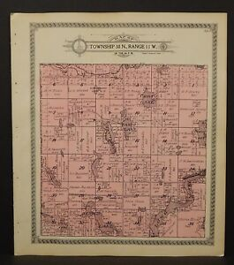 Wisconsin Washburn County Map Spooner & Long Lake Township 1915  L13#82