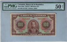 COLOMBIA NOTE BANCO DE LA REPUBLICA $100 ORO 1953-57 PICK# 394 d PMG AU 50