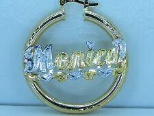 """PERSONALIZED 14K GP 1.5"""" ROUND HOOP NAME EARRINGS GIFT/JEWELRY any name up to 9"""