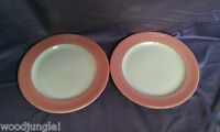 2 Vintage RESTAURANT LOMBARD PLATES STERLING CHINA PINK PLATTER WARE MID CENTURY