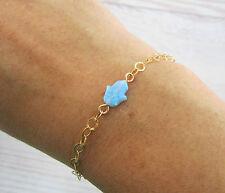 Hamsa Hand bracelet, blue opal 14K gold filled, charm good luck kabbalah jewelry