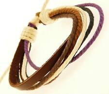 Mens Dark Brown Leather Strap & Coloured Cord Surf Surfer Wristband Bracelet