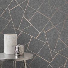 Quartz Metallic Charcoal Copper Fractal Geometric Glitter Wallpaper FD42283