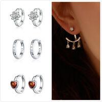 Bamoer Women Stud CZ Earrings Hoop Dangle S925 silver With CZ Girl Gift Jewelry