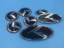 7pc K LOGO Emblem Badges SET Front+Rear+Steering+Wheel Caps fit For KIA RIO