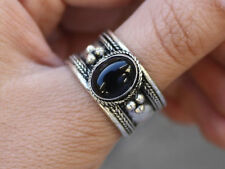 Large Adjustable Tibetan Oval Onyx Gemstone Multi Weaving Dotted Amulet Ring