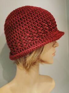 Vintage 1920's Hat, Cloche Hat, Bucket Hat Beanie, Handmade Crochet Hat