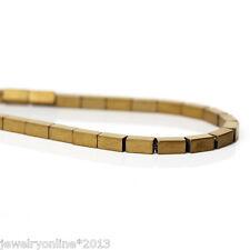 1Strang Hämatit Perlen Rechteck Khaki 4x2mm, Loch: 0.5mm, 40.5cm 97 Stk.