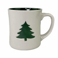 Starbucks 2008 Christmas Ivory White Green Pine Tree 12 Oz Coffee Mug Cup