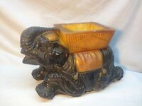 Vintage Chalk Mexico Elephant Planter Trunk Up Good Luck Circus Carnival Prize
