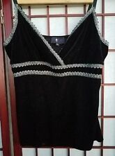 Morbid Threads XL Tank Top Black Velvet & Metallic Silver Goth Punk