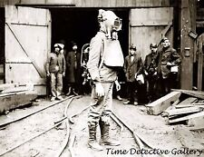 Coal Mine Rescue Worker with Drager Oxygen Helmet - 1911 - Historic Photo Print