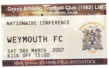 Ticket - Grays Athletic v Weymouth 03.03.07