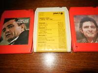 "Lot of 3 Johnny Cash 8-Track Tapes At Folsom Prison Greatest II  ""I Walk Tested!"