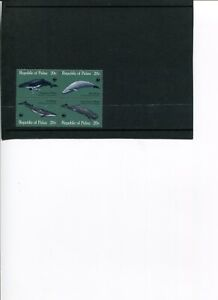 1983 WWF PALAU Great Whales 4V set in Block MNH POST-FREE