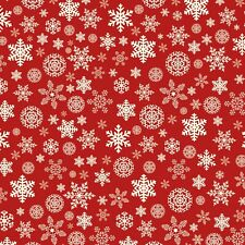 Fabric Snowflakes White on Red Designer Flannel by the 1/4 yard
