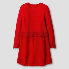 Girls Sweater Dress Cat & Jack Red Pop Glittery Ribbed Infant Baby 18M NWT