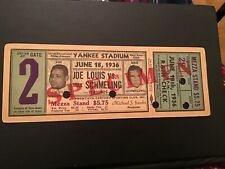 JOE LOUIS V MAX SCHMELLING FULL BOXING TICKET JUNE 18 1936