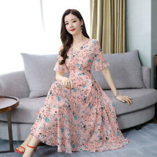 Plus Size Women High Waist Maxi Dress V Neck Floral Print Slim Loose Long<d