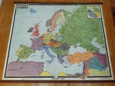 Beautiful Vintage Mid Century Europe population Wenschow Wall School Map Chart