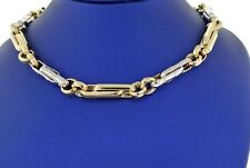 """Fancy 14k Two-Tone Gold Men's Link Chain Necklace, 30.6gm, 26"""", Made In Italy"""