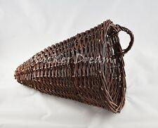 "Cone Shaped Wall Hanging Wicker Basket for Garden Medium 10.5"" / 13.5"",  26/34cm"