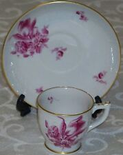 Older Mark Herend Unknown Floral Pattern Demitasse Cup & Saucer in Raspberry