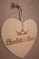 Personalised Hanging Wooden Heart Room Sign Any Name Engraved Crown Design