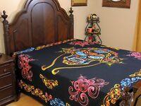 Black Tribal Skull Cotton Bedding Indian Wall Tapestry Bed Sheet ~ Full