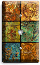 ITALIAN PATCHWORK TILES PRINT PHONE JACK TELEPHONE WALL DECOR PLATE ART COVER