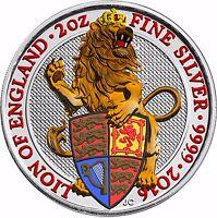 Großbritannien 2016 Löwe von England Silbermünze 5 Pfund Queen's Beast in Farbe