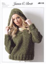 Chunky Knitting Pattern Ladies V Neck Hooded Jumper Sweater James Brett JB111