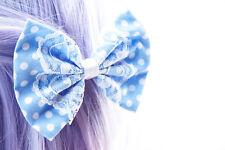 Light Blue Polkadot Medium Fabric Hair Bow with White Lace Overlay