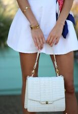 ❤BRAHMIN OPHELIA SATCHEL + WALLET MACAROON CROC WHITE LEATHER ~ HALO GABRIELLA❤