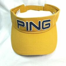 PING Golf Sport Sun Visor Mustard Yellow Navy Adjustable Closure Unisex Cap Hat