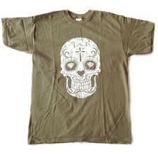 SKULL - Sugar Skull - oliv - T-Shirt - Größe Size M - FUN