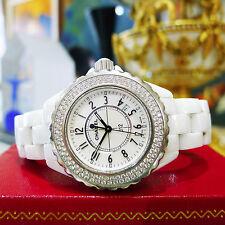 Ladies CHANEL J12 Diamond White Arabic Dial Round 34mm White Ceramic Watch