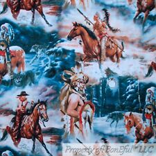 BonEful FABRIC FQ Cotton Quilt VTG Water Wolf Moon American Indian Feather Horse
