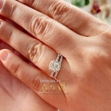 14K SOLID WHITE GOLD CUSHION SIMULATED DIAMOND ENGAGEMENT RING BAND HALO 3.00