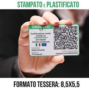 Green Pass stampato e plastificato formato tessera stampa Greenpass Certificato