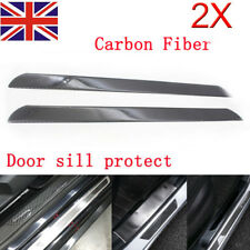 2x L Universal Real Carbon Fiber Car Door Scuff Plate Sill Cover Panel Protect