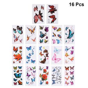 16pcs Tattoo Stickers Flower Safe Butterfly Beautiful Tattoo Stickers for Women