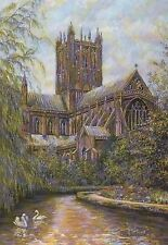 Wells Cathedral from Moat, Somerset England, Swans - United Kingdom Art Postcard