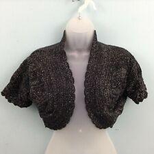 Papaya Womens black sparkly bolero shrug UK 14 cotton blend cropped cardigan