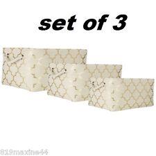Gold Quatrefoil Straw Basket 3 piece set, Shabby Chic Decor!