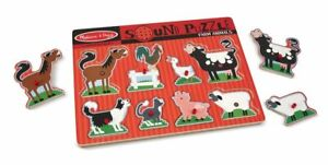 Melissa & Doug Farm Animals Sound Puzzle Wooden With Sound 8 pcs