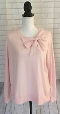 Kate Spade Dream A Little Dream Bow Sweater Top Womens Sz L Pink Preppy Classic